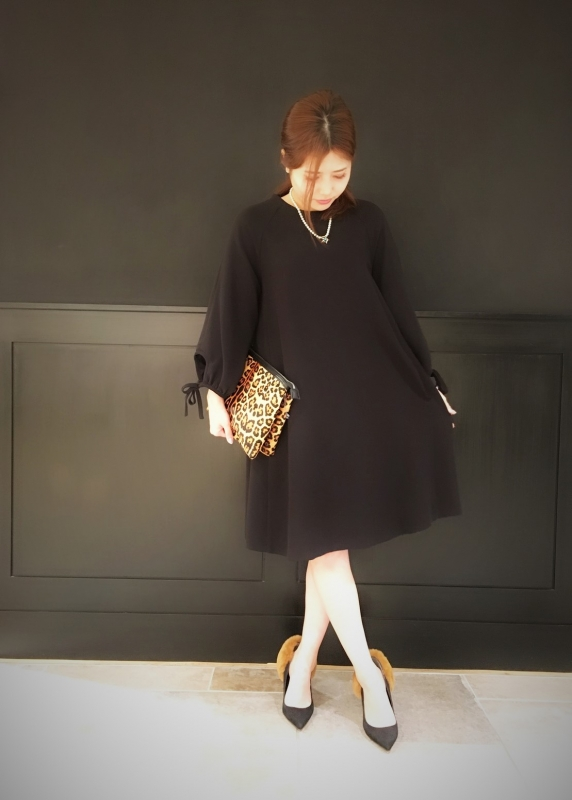 ☆hollow twill sleeve ribbon dress☆